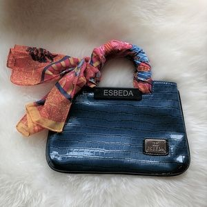 Esbeda Embossed Turquoise Blue Bag